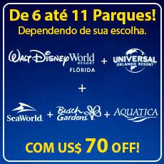 COMBO BLACK FRIDAY Walt Disney World + Universal Orlando + SeaWorld + Busch Gardens + Aquatica, Com US$ 70 OFF!